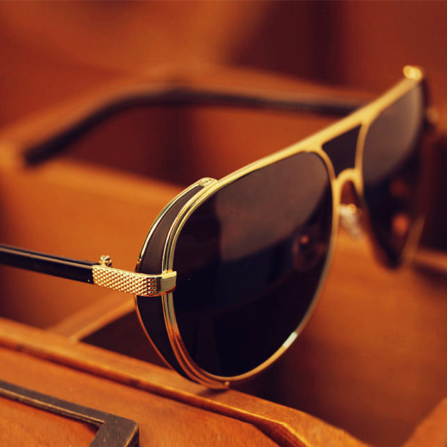 Vintage Sunglasses Men Gold Frame Glasses Men Steampunk ...
