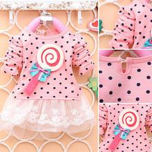 Baby Kid Girl Lollipop Polka Dot Long Sleeve Lace Tutu Dress 2-4Y QL