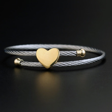Brand Designer 2 Colors Stainless Steel Bracelets For Women Heart Shape Love Bangle Bracelet Screw Bracelet Manchette Femme(China (Mainland))