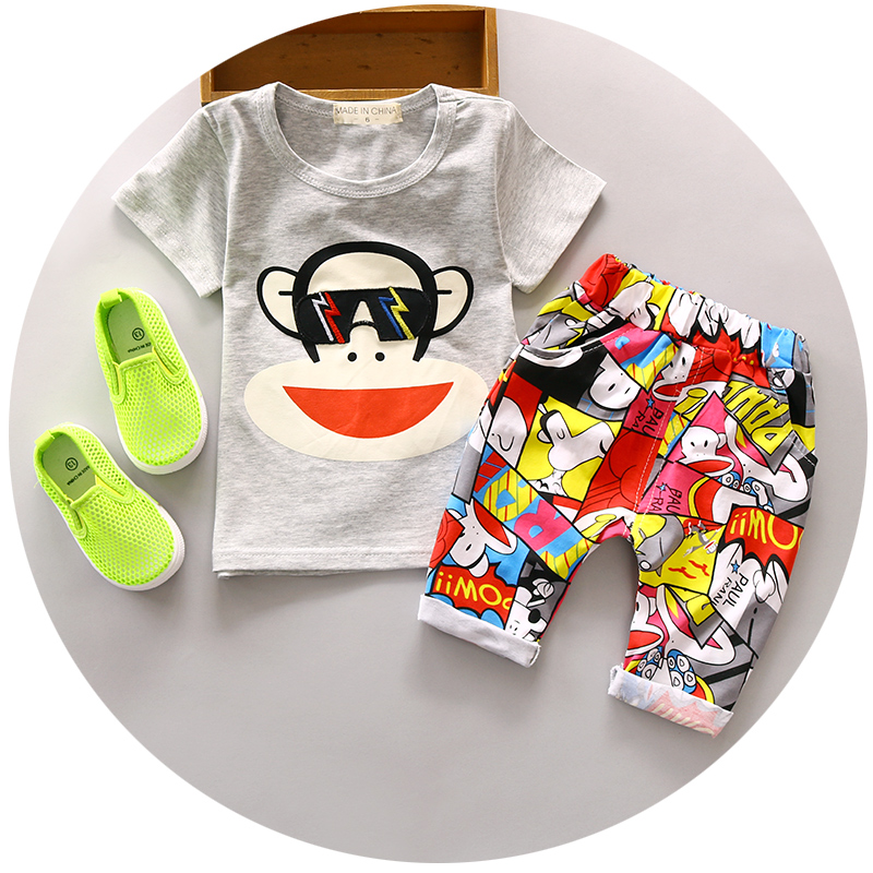 Baby Boy Summer clothing set 1 2 3 years old children sets nice cotton fashion style toolders 2pc suit A133(China (Mainland))