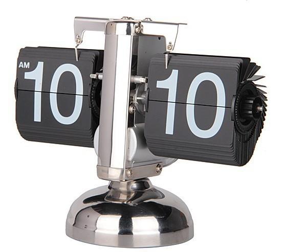 Wholesale Retro Automatic Balance Flip Clock Novelty Desk Table Clocks For Home Decor Novelty Desk Table Clocks(China (Mainland))