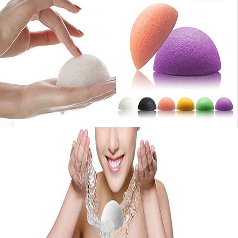 2016 Cheap! Natural Konjac Konnyaku Facial Puff Face Wash Cleansing Sponge Green Pink White free shipping(China (Mainland))