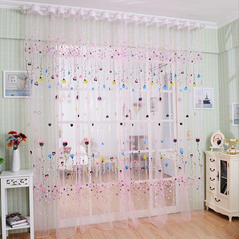 Korean Cartoon Curtains Romantic Pink Blue Cute Balloon Sheer Curtain Tulle For Home Kitchen Sitting Room Balcony Yarn DS075#66(China (Mainland))
