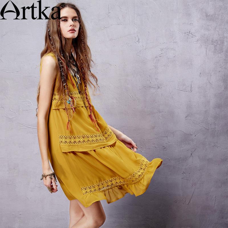Artka Women's Ethnic Bohemian Chiffon Dress 2015 NEW Trend Modern Woman Casual Dresses Sleeveless Straight Dress LA14558X(China (Mainland))