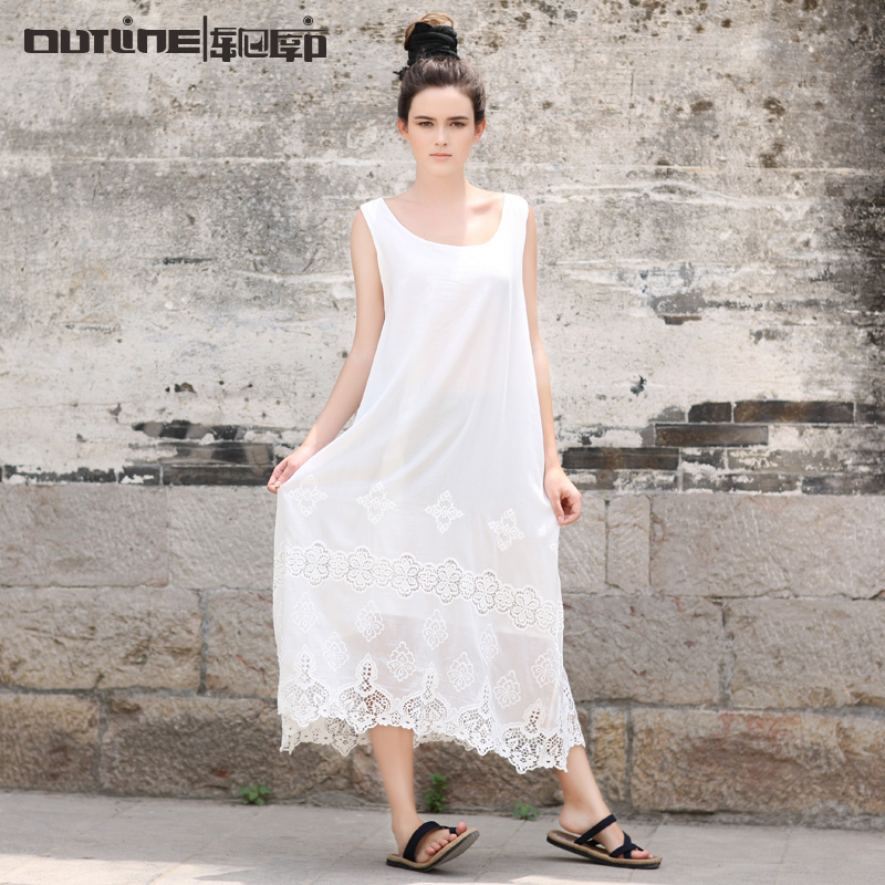 Outline Brand Vintage Beach Dress National Trend Black White Plus Size Lace Flower Dress Women Silk Cotton Base Dress L142Y024(China (Mainland))