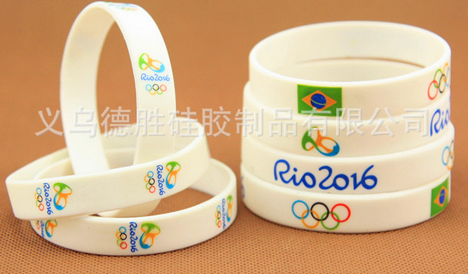 2016 new arrival Brazil Rio the Olympic rings logo silicone bracelet jelly bracelets high quality Sports wristbands wholesale