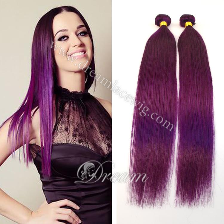 (4 Bundles/lot) Wholesale 100% Brazilian Virgin Remy Human Hair Purple/Pink/Blue/Red Straight Hair Weaving 2015 Summer Fashion(China (Mainland))