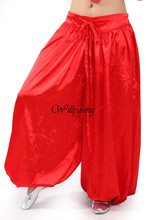 Hot & New Sexy Satin Belly Dance Costume Tribal Pants Egyptian Harem Pant Many Colors