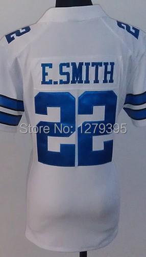#22 E.Smith Women Jersey,Football Jersey,Sport Jersey,Size S--XXL,Accept Mix Order Free Shipping Lady E.Smith Jerseys White(China (Mainland))