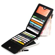 2015 New Arrival Black Zipper Billfold Unisex Women Men PU Leather Wallet Card ID Holder Phone Bag(China (Mainland))