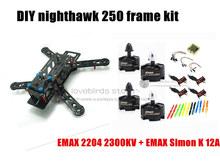 DIY mini drone FPV nighthawk 250 race quadcopter pure carbon frame kit + EMAX 2204 2300KV motor + EMAX 12A ESC + CC3D +6045 prop