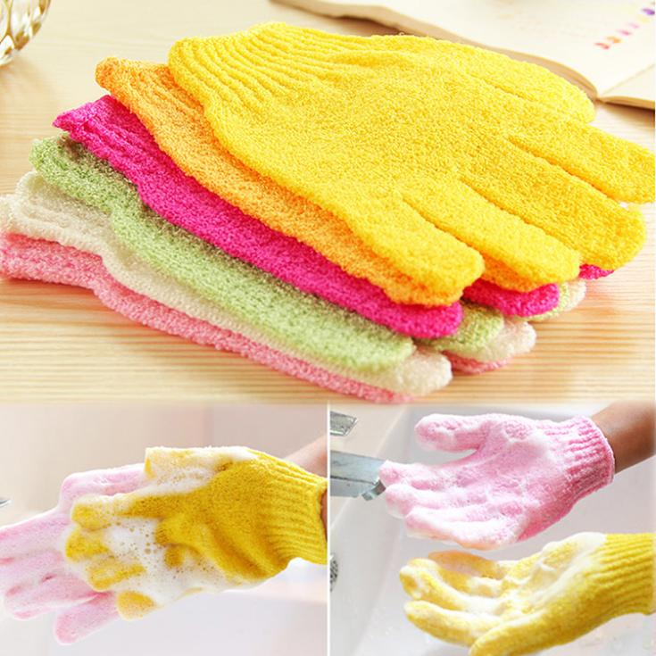 Fashion Random Color Shower Exfoliating Wash Skin Spa Foam Massage Scrubber Bathing Gloves(China (Mainland))