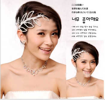 2013 Newest crystal leaf wedding tiaras hair jewely nice silver hairpin wedding crown jewelry accessioes