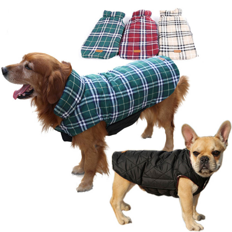 Гаджет  Splendid Brand New Windproof Keep Warm dog clothes winter Reversible Dog Jacket Size M L Warm Plaid Winter Pet Coats Clothes  None Дом и Сад