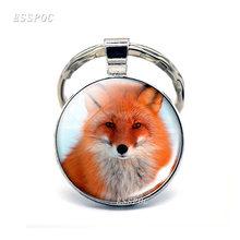 Jóia Animal Adorável Fox Vidro Cabochon De Metal Saco Chaveiro Fox Cadeia Pingente Moda Chave para As Mulheres Presentes de Natal para A Filha(China)