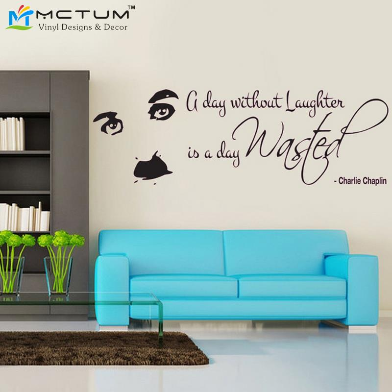 Wall Art Stickers Heaven : Charlie chaplin laughter quote wall decal sticker art
