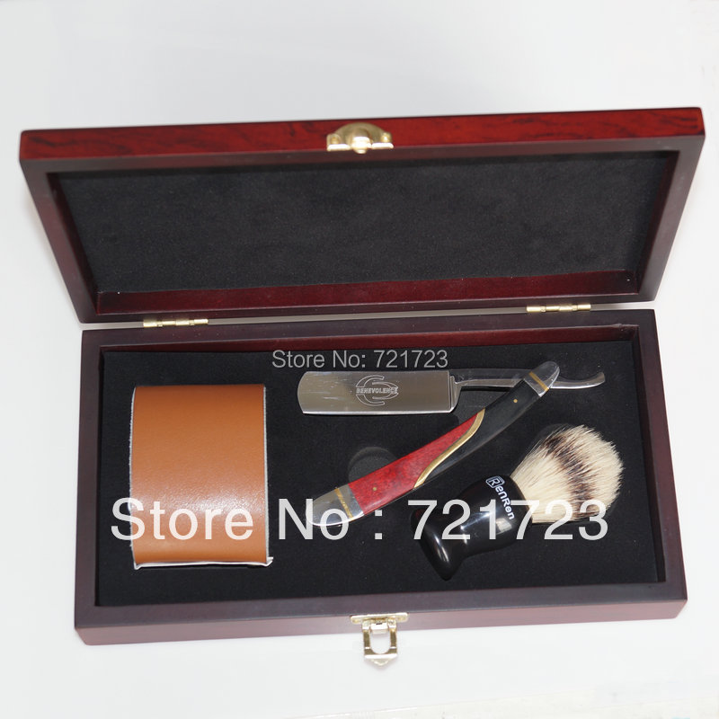New Shave wooden box Kit Men Red+Black+Metal  handle Straight Razor Shaving Brush and leather Strop Gift<br><br>Aliexpress
