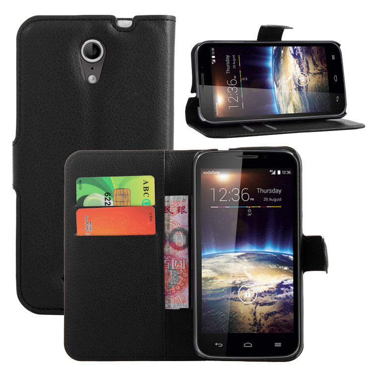 Slim Luxury Handmade PU Litchi Leather Wallet Case Carrying Folio Cover Stand Function Vodafone Smart 4 LTE 4G - Quella Store store