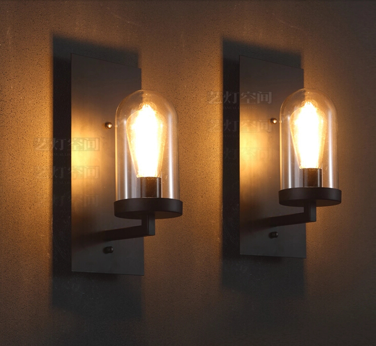 Creative american industrial wall lamp loft glass sconce for Bedroom wall lights