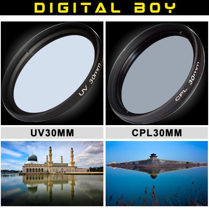 (2pcs/1lot) 30mm UV Lens Filter + 30mm Circular Polarizing CPL Filter kit for Canon Nikon Sony camera lente filtro(China (Mainland))
