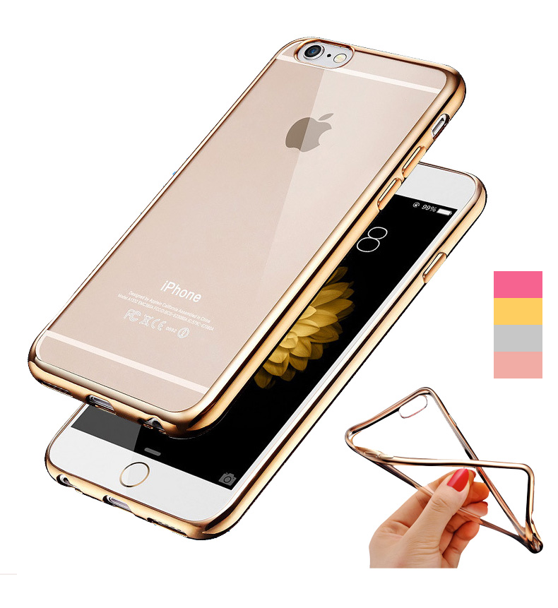 For Iphone6 Rose Gold Plating Crystal Clear Soft Case For Apple Iphone 6 6s Plus Covers Transparent Hybrid Cases(China (Mainland))