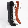 Autumn Women Knight Boots Classic Black Knee High Boots Lacing High Heeled Botas Femininas