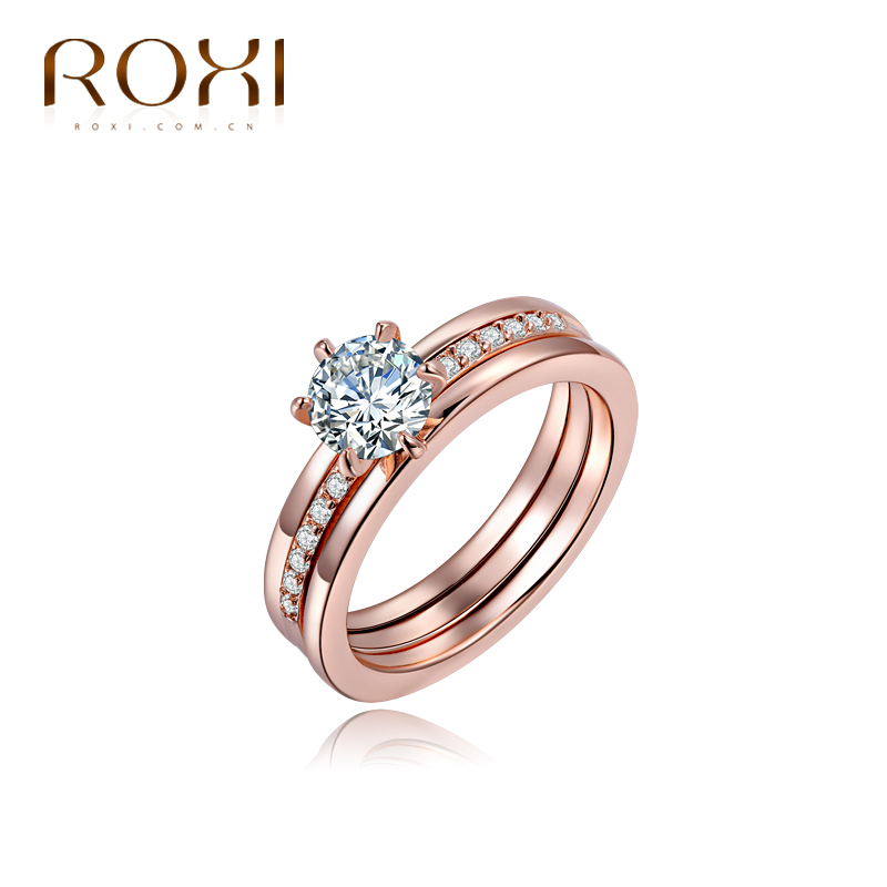 wedding Rings for women 18K rose Gold filled rings women Engagement