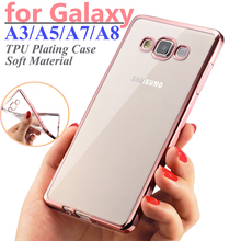 Phone Case For Samsung Galaxy A3 A5 A7 A8 Plating Soft TPU Cases Transparent Mobile Phone Cover For Galaxy A3000 A5000 A700 A800
