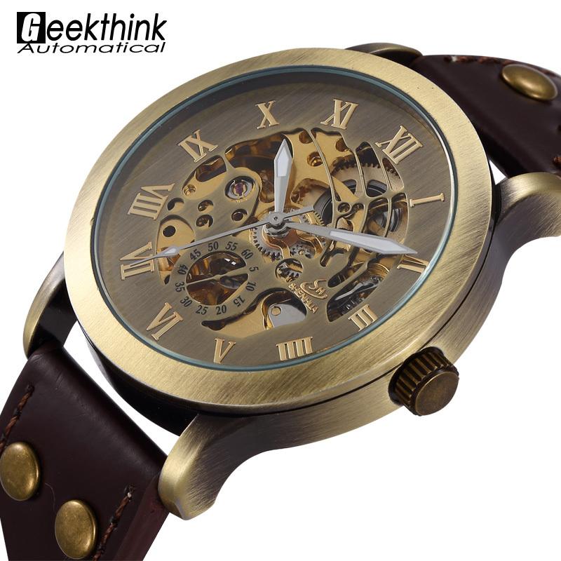 Design Antique Automatic Skeleton Mechanical Wrist Watch Black Leather Men's Wristwatch Relogio Masculino 2015 New Steampunk(China (Mainland))