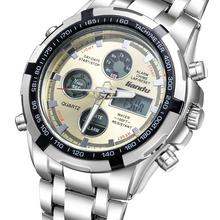 Led luminoso completo de acero inoxidable hombre deportes impermeable reloj de múltiples funciones reloj militar reloj de cuarzo Relogio Masculino reloj