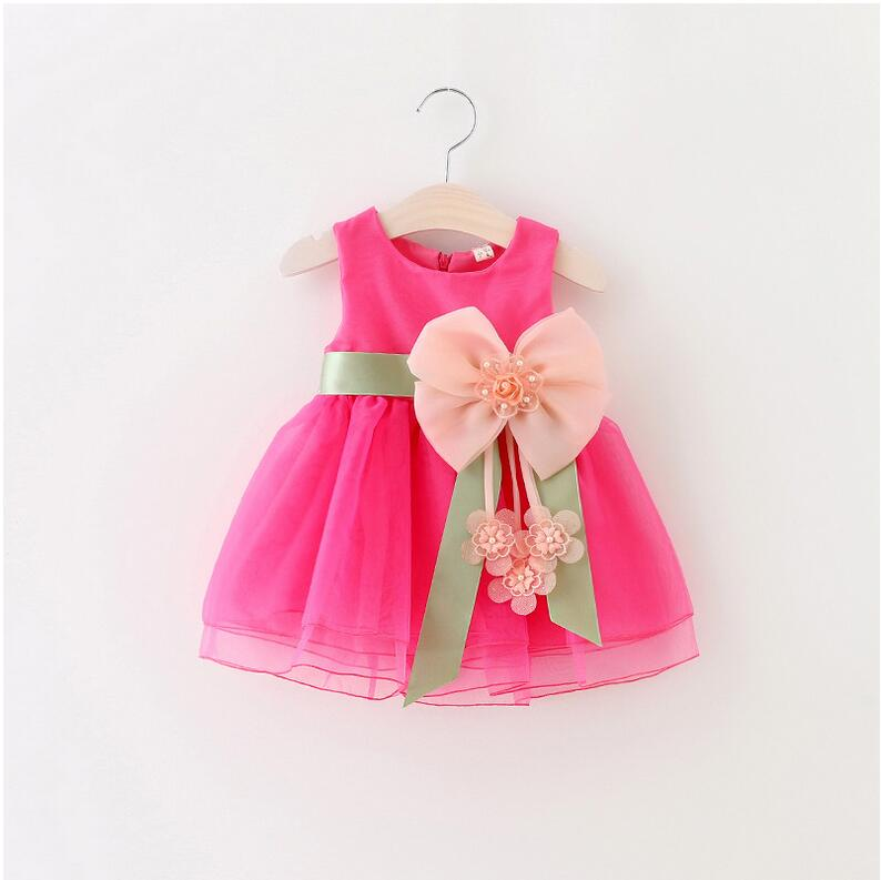2017 baby girls sleeveless lace cake dress children toddler princess dress for baby 1 year birthday kids girl baptism dresses(China (Mainland))