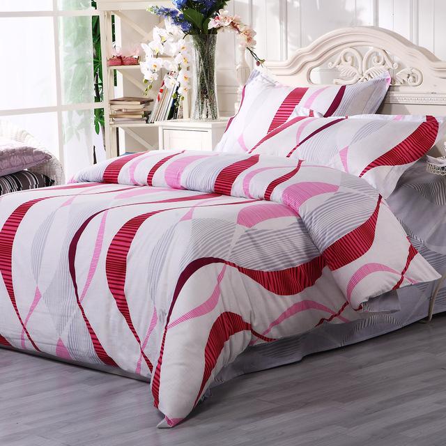 Gentle 100% slanting cotton stripe print four piece set bedding