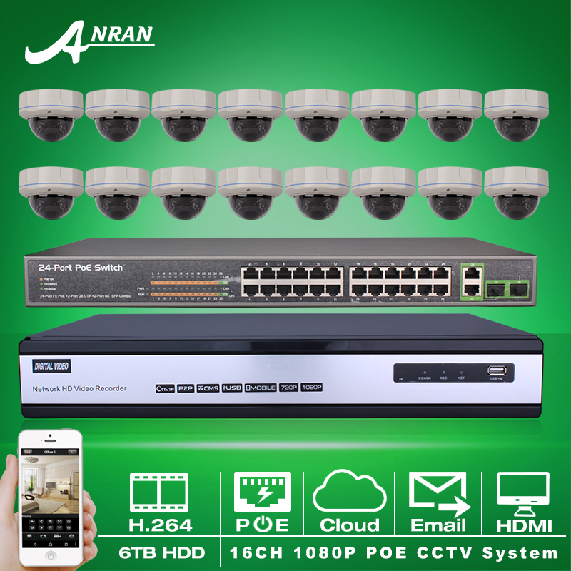 16CH NVR Security CCTV System 6TB HDD 1080P HD H.264 25fps 30 IR Outdoor Vandal-proof Dome Network IP POE Camera 24CH POE Switch(China (Mainland))