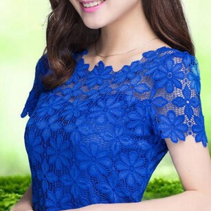5XL Plus Size Women Summer New Lace Crochet Shirt Tops Short Sleeve O-Neck Lace Blouse Shirts Summer Sexy Floral Casual Top(China (Mainland))