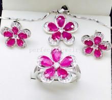 Ruby set Free shipping Real natural ruby 1pc pendant 1pc ring 1pair stud earring 925 sterling silver Fine jewelry #15031902(China (Mainland))