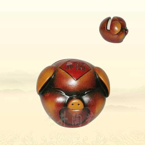 Pottery Fu pig card holder high-end original handmade household pottery Gift Decoration