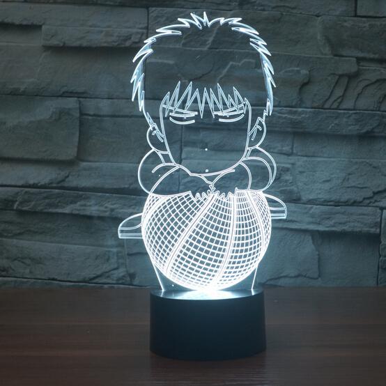 Hot NEW 7color changing 3D Bulbing Light SLAM DUNK Hanamichi Sakuragi visual illusion LED lamp action figure toy slamdunk gift(China (Mainland))