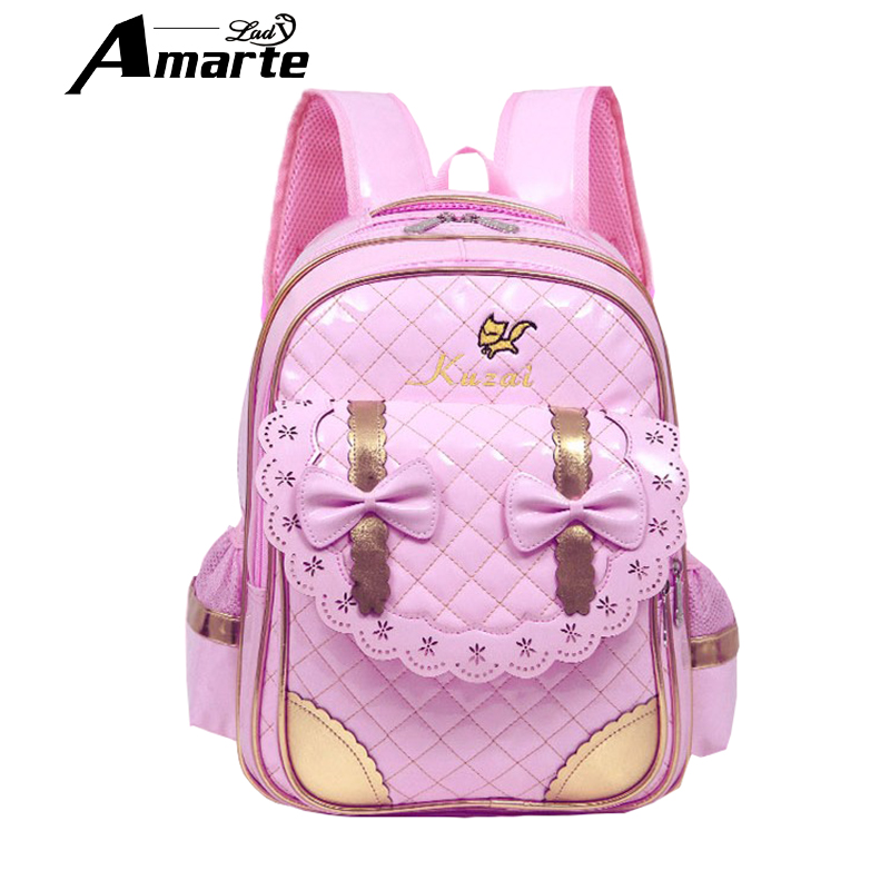 Cute Bow Girls School Bag Sweet Pink Plaid Backpack High Quality PU Kids Backpacks Rucksack Mochila Infantil Zip Schoolbag(China (Mainland))