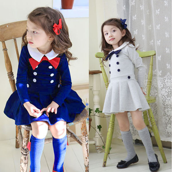 Kids Baby Girls Pleated School Dress Long Sleeve Buttons Bow Lapel Dress for 1-6Y(China (Mainland))
