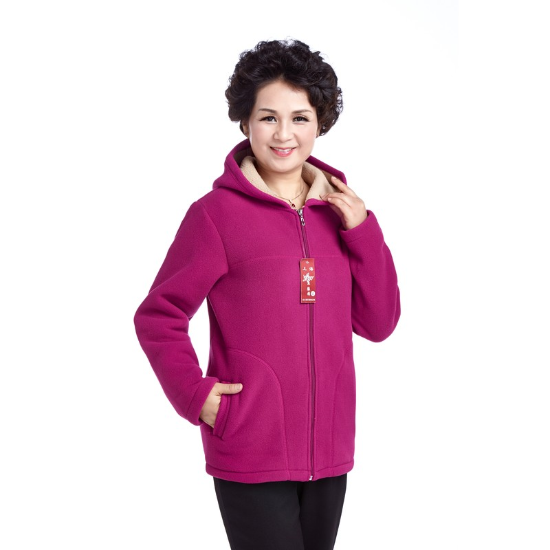 Winter Middle Aged Womens Hooded Imitation Lambs Fleece Jackets Ladies Warm Soft Velevt Coats Mother Overcoats Plus Size (1)