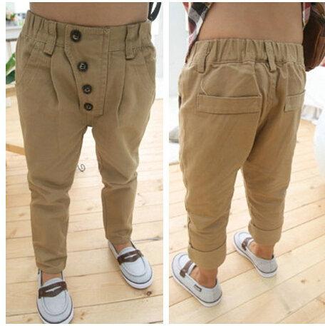 New 2014 Baby Khaki casual pants Cool Vintage button Harem pants ...
