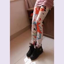 Spring and Autumn Women Leggings Fashion Lady Print Graffiti Leggins High Waist Stretch Slim Fitness Pencil Pants Free size(China (Mainland))