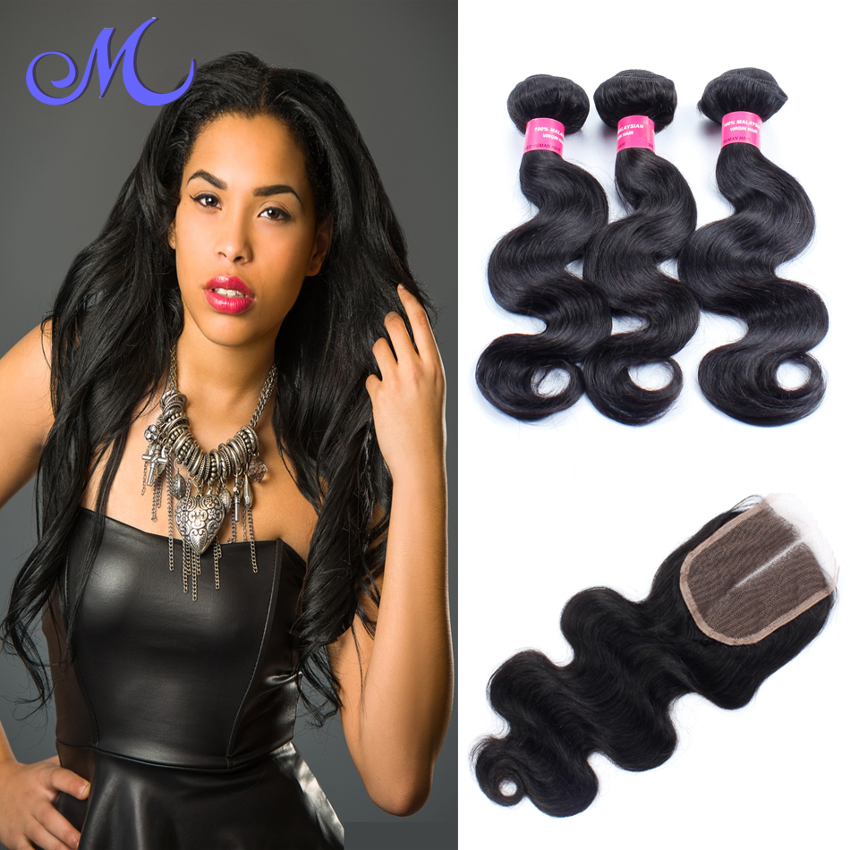 Virgin Malaysian Hair 3 bundles with Lace closure body wave, Unprocessed Malaysian Body Wave Top Lace closure With Hair Bundles