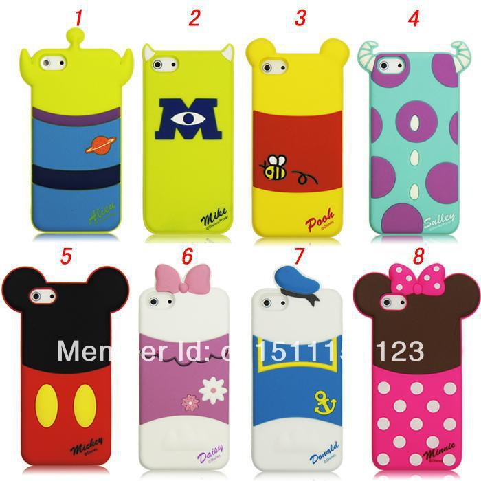 Cute 3D Mickey Minnie Mike Sulley donald daisy Shadow Rubber Silicone Cartoon Case Cover Shell iphone 4 4s 5 5g 5s