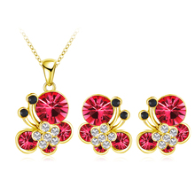 Newest 2016 Women Lovely Butterfly Jewelry Set 18K Gold Plate Austrian Crystal Necklace Earring 14 Colors Fashion Jewelry Set(China (Mainland))