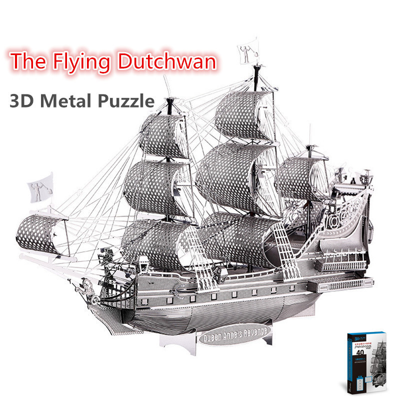 Piececool The Flying Dutchman 3D Laser Cutting DIY Metallic Boat Model Metal Earth 3D Metal Puzzle Educational Diy Jigsaws Gifts(China (Mainland))
