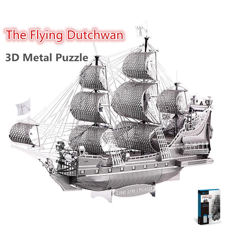 Piececool The Flying Dutchman 3D Laser Cutting DIY Metallic Boat Model Metal Earth 3D Metal Puzzle Educational Diy Jigsaws Gifts(China (Mainland))
