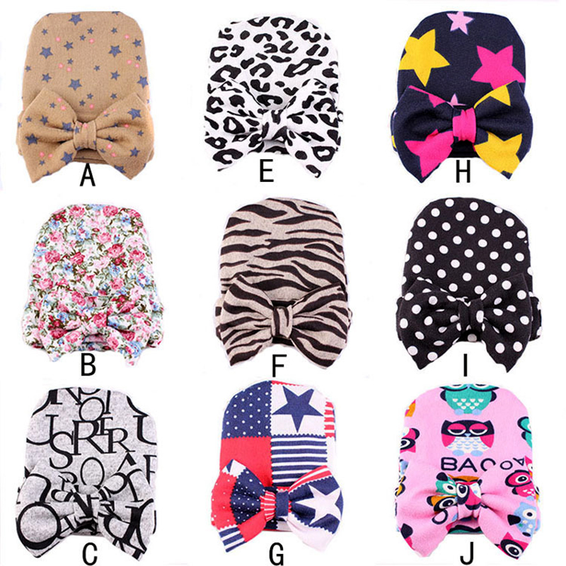 1 PC Soft Newborn Infant Toddler Printing Bow Cap Cotton Hat Baby Beanie Hat Accessories(China (Mainland))