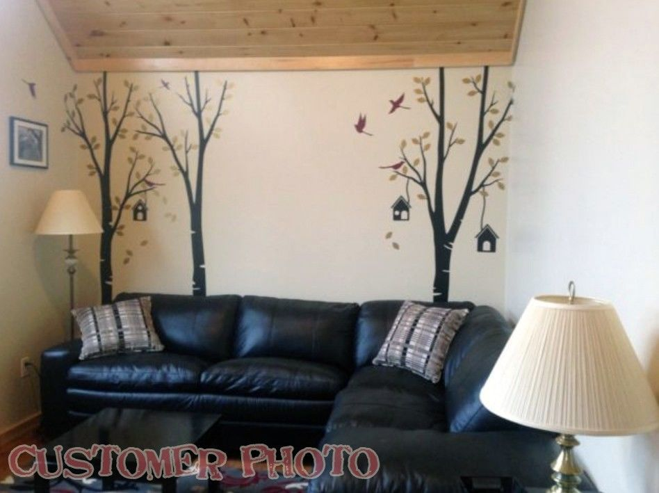 Birch tree wall decal with birds and birdhouse vinyl wall decal wall mural 235cmX255cm(China (Mainland))