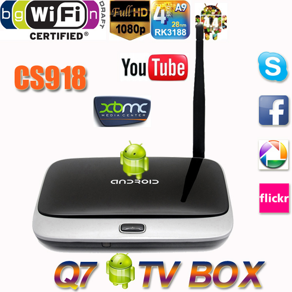 Android 4.4 TV Box Q7 CS918 1080P RK3188T Quad Core Media Player 1GB/8GB XBMC Wifi Antenna Remote Control - Shenzhen Jrecam technolog Co.,LTD store